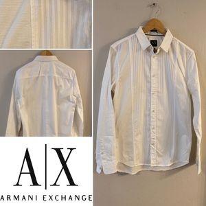 The best Armani Exchange white textured shirt